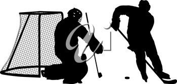 Silhouette of hockey goalkeeper on white background.