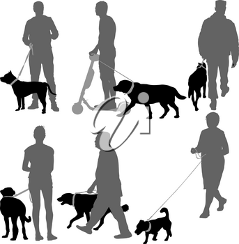 Set silhouette of people and dog on a white background.