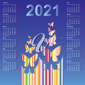 Stylish calendar with butterflies for 2021. Week starts on Sunday.