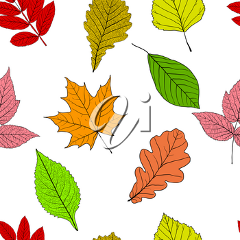 Seamless background with sketch leaves or background.