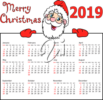 Stylish calendar withmuscular Santa Claus for 2019.