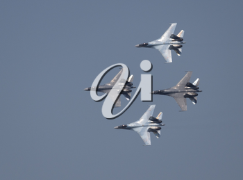 Moscow Russia Zhukovsky Airfield 31 August 2019: Aerobatic teams Falcons Of Russia on planes Su-30 of the international aerospace salon MAKS-2019.