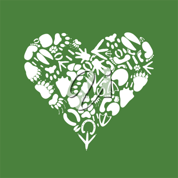 Royalty Free Clipart Image of a Heart with Animal Tracks