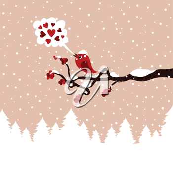 The bird sings on a tree in the winter. A vector illustration