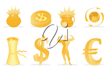 Collection of icons of gold colour. A vector illustration