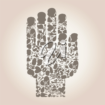 Hand made of body parts a vector illustration