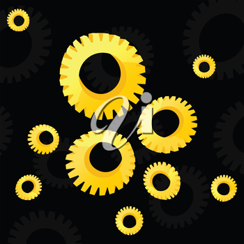 Gear wheels of gold colour on a black background. A vector illustration