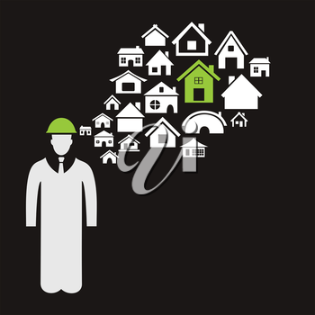 The builder thinks of houses. A vector illustration