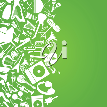 Set of musical instruments on a green background. A vector illustration
