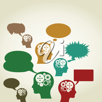 Heads of people give rise to ideas. A vector illustration