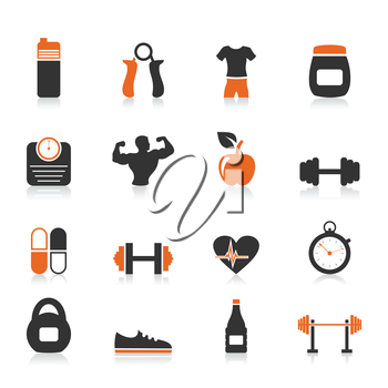 Set of icons fitness sports. A vector illustration