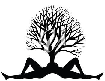 The tree grows from a body of the woman. A vector illustration