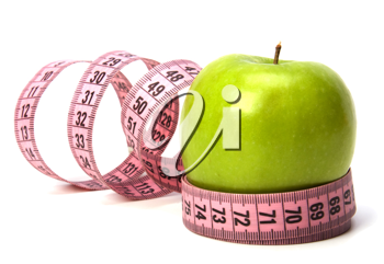 tape measure wrapped around the apple isolated on white background