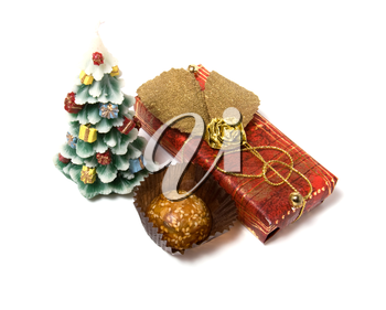 Christmas tree candle  isolated on the white background