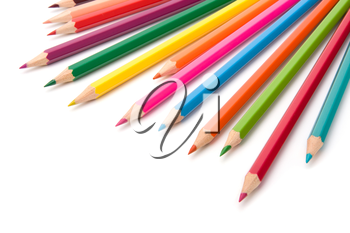 Colouring crayon pencils  isolated on white background