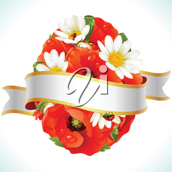 Royalty Free Clipart Image of Flowers  and a Banner