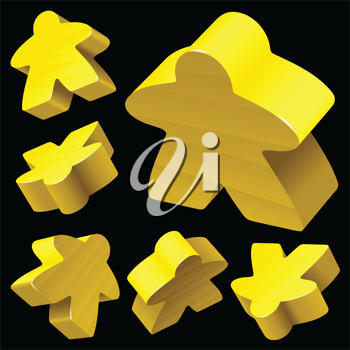 Royalty Free Clipart Image of Yellow Wooden Meeples