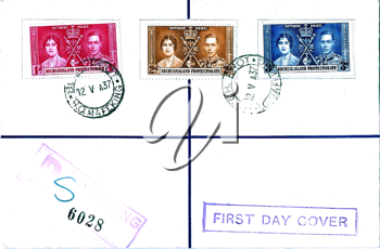 Royalty Free Photo of a Postcard With Stamps