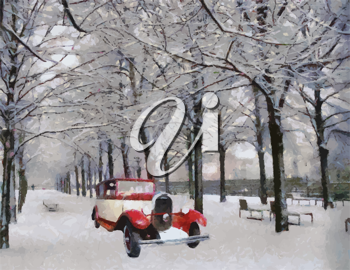 Vector Front view of a vintage Chenard Walcker 1928 passenger vehicle on snowy road Oil painted