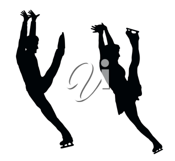 Silhouette of Ice Skater Couple High Kick