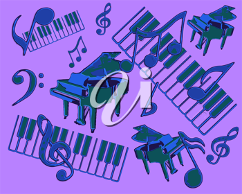 Abstract Display of Piano Musical Concert with Notes and Striking Blue and Purple