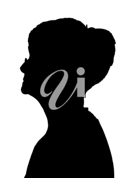 Side profile portrait silhouette of elderly lady with glasses