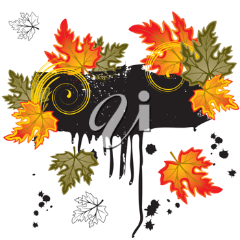 Royalty Free Clipart Image of a Grunge Frame With Leaves