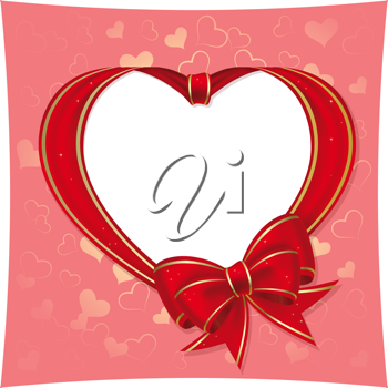 Royalty Free Clipart Image of a Bow Heart Frame