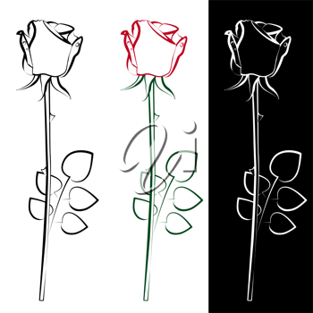 Royalty Free Clipart Image of Three Roses