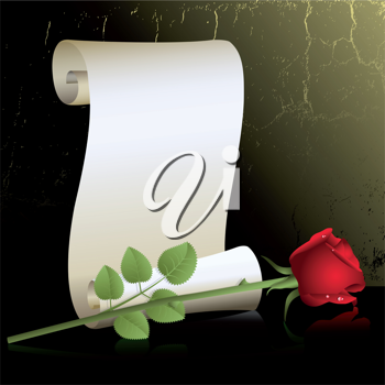 Royalty Free Clipart Image of a Roll of Paper With a Rose