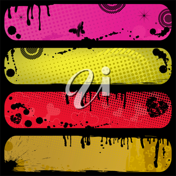 Royalty Free Clipart Image of Four Grunge Banners