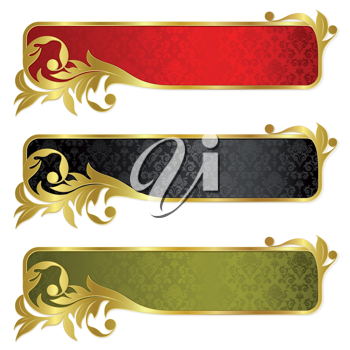 Royalty Free Clipart Image of a Set of Three Banners