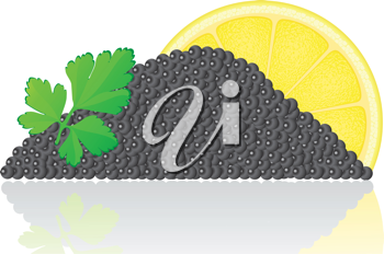 Royalty Free Clipart Image of Black Caviar with a Lemon