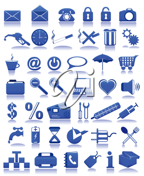 Royalty Free Clipart Image of Blue Icons
