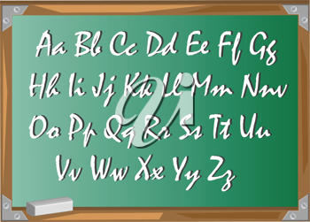 Royalty Free Clipart Image of a Chalkboard with an Alphabet
