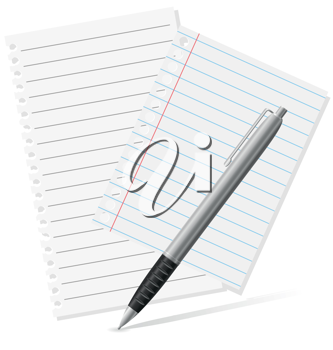 Royalty Free Clipart Image of a Pen and Paper