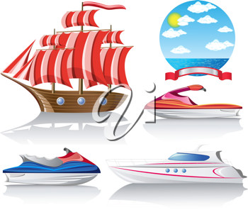 Royalty Free Clipart Image of a Set of Marine Transpotarion