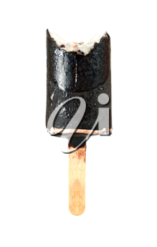 bitten ice cream with chocolate a stick isolated on white background