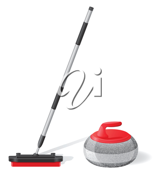 broom and stone for curling sport game vector illustration isolated on white background