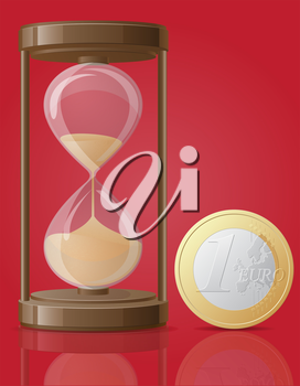 Royalty Free Clipart Image of an Hourglass and a Euro