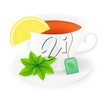 porcelain cup of tea with lemon and mint vector illustration isolated on white background
