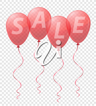 transparent red balloons with the inscription sale vector illustration isolated on background