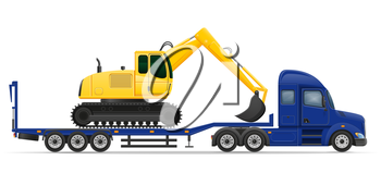 truck semi trailer delivery and transportation of construction machinery concept vector illustration isolated on white background