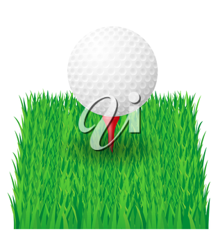 golf ball on the green grass vector illustration