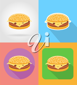 cheeseburger sandwich fast food flat icons with the shadow vector illustration isolated on background