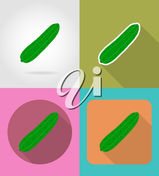 cucumber vegetable flat icons with the shadow vector illustration isolated on background