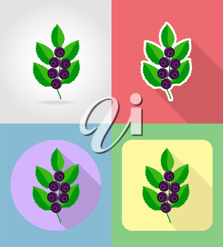 blueberries fruits flat set icons with the shadow vector illustration isolated on background