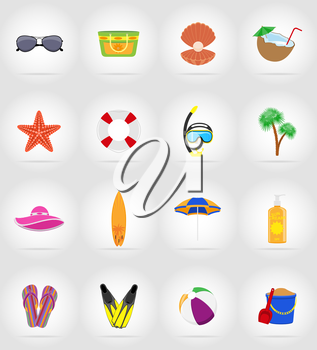 objects for recreation a beach flat icons vector illustration isolated on background