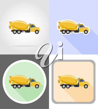 truck concrete mixer flat icons vector illustration isolated on background