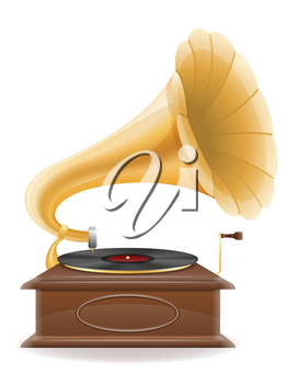 gramophone old retro vintage icon stock vector illustration isolated on white background